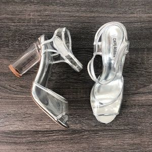 ⚡️Sample Sale ⚡Silver Clear Ankle Strap Heels